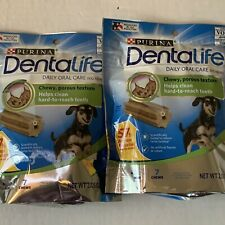 (2) Purina DentaLife Made USA Facilities Mini Dog Dental Chews Daily 7 ct Pouch