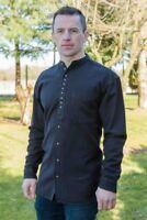 Traditional Irish Civilian Grandfather Shirt Black High Quality ew13 + sw59