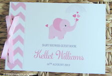 PERSONALISED CHEVRON ELEPHANT BABY SHOWER GUEST BOOK - PINK & GREY