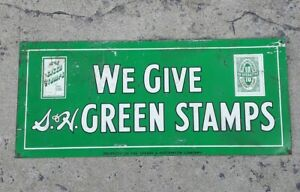 """RARE Vintage S&H """"We Give Green Stamps"""" Sperry & Hutchinson Tin Metal Sign !!!"""
