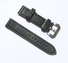 22mm Black Extra Thick Heavy Duty Leather Watch Band with 2 Spring Bars