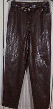 MICHÈLE Vintage Faux Crocodile Trousers 28W 30L Brown Pants UK12 Michele Boyard