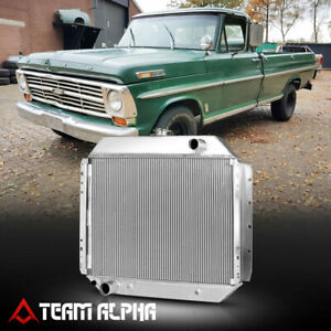 Fits 1968-1979 Ford F100/F150/F250/Bronco[DUAL ROW CORE]Aluminum Racing Radiator