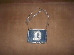"Justice Blue Denim Handbag Silver Trim Glitter Initial ""D"" Inside Pocket"