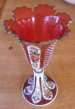 MOSER BOHEMIA CRANBERRY GLASS VASE....GOOD CONDITION
