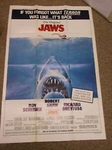 """JAWS(R-79)ROBERT SHAW ORIGINAL ONE SHEET POSTER 27""""BY41"""" NICE!"""