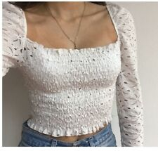 Topshop White Daisy Lace Shirred Top XS new