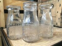 3 Vintage Half Pint Milk Bottles Natoma Farm Hinsdale Illinois Dairy Bottle