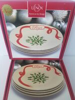 """Lenox American by Design Holiday 9.5"""" Carved Accent Plate Set Of 8 New"""