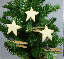 Set of 3 iridescent white star clip ornaments - New Blossom Bucket #19863