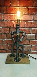 Industrial Water Pipe Steampunk Robot Study Office Bedroom Table Desk Lamp Light