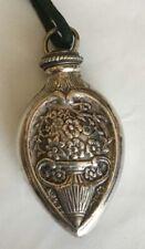 """Antique Sterling Silver Repousse Perfume Scent Bottle Vial Pendant w/stopper 2""""L"""