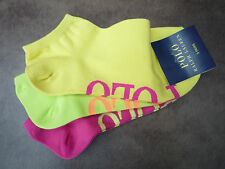 RALPH LAUREN 3 PAIRS PINK/LIME/YELLOW TRAINER SOCKS BNWT SHOE SIZE 4-7 EU 36-40