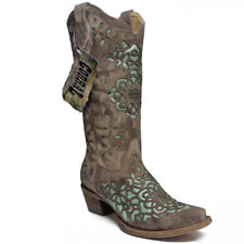 Corral Vintage Sand Blue Laser Cut Inlay Cowboy Cowgirl Western Boots 8 NEW $302