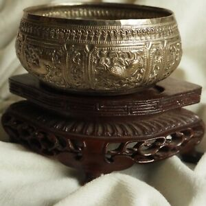 Antique India Massage Oil Hammered Silver Dish Tray Forest Animal Art Handmade