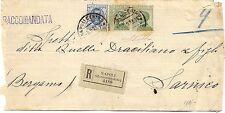 P7551   Napoli, piego raccomandato per Sarnico (Bg) con coppia Michetti c.25