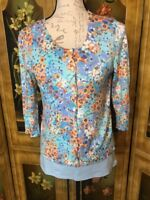 J. Jill Women's Blue Floral 3/4 Sleeve Button Cardigan & Tank Set - Size XS / M