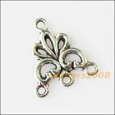 20 New Flower Connectors Tibetan Silver Tone Charms Pendants 17x19mm
