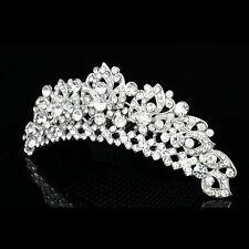 Handmade Bridal Flower Rhinestones Crystal Prom Wedding Tiara Hair Comb 8824