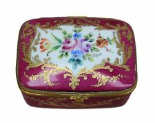 French Vintage Hand Painted Le Tallec Paris Hinged Casket Trinket Box Porcelain