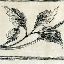 Victorian Scroll & Ivy Wallpaper Border - Black-White - Wallpaper Borders A485