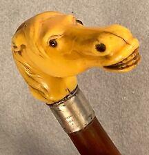 Antique Equestrian Horse Head Sterling Silver English Umbrella Stick Cane Handle
