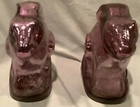Two Vintage Matching Rabbits Easter Bunny Purple Glass Possible Bookends