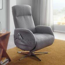 FineBuy Massagesessel elektrisch Stoff Grau Relaxsessel Massagefunktion Sessel