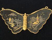 Vintage 1950's Shakudo Butterfly Brooch Signed Amita
