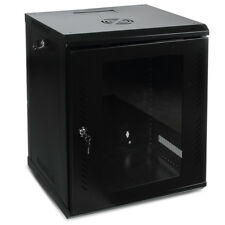 12U Wall Mount Network Equipment Server Data Cabinet Rack Glass Door (Black)