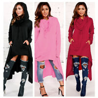 Womens Asymmetric Hoodie Long Sleeve Sweatshirts Loose Pullover Blouses Tops NEW