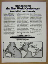 1981 Cunard Queen Elizabeth QE2 6 Continent World Cruise route map vintage Ad