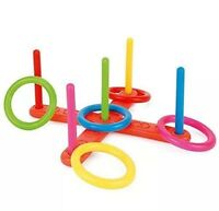 Toyrific Hoop Ring Plastic Toss Quoits Garden Game Pool Toy Outdoor Fun Set