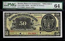 """Mexico RARE $50 Pesos""""SPECIMEN""""El Banco De Guanajuato 1901-14 PMG 64"""