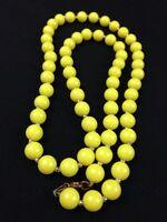 """Bright Yellow Beaded Necklace Long 30"""" Retro Sunny Summer Hippy Boho Gypsy"""