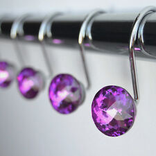 "Shower Curtain Hooks Rings - Purple Glass 1"" Decorative Crystal Diamond Bath Set"
