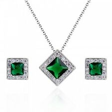 NEW 18K WHITE GOLD PLATED GENUINE EMERALD GREEN CUBIC ZIRCONIA JEWELLERY SET