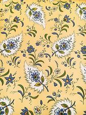 Vintage Wallpaper French Country Floral Yellow & Blue Motif