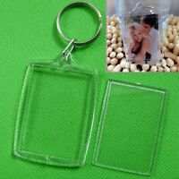 5/10X Clear Acrylic Blank Photo Picture Frame Key Ring Keychain Keyring Gift WG