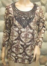 NWT Women's Fresh Multi Brown/Black Studded 3/4 Sleeve Dress Top Size M
