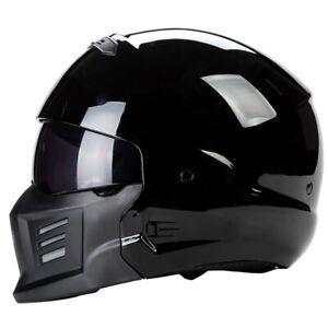 ZR-8 Gloss Black Aggressive Modular Full Face Motorcycle Helmet DOT Approved