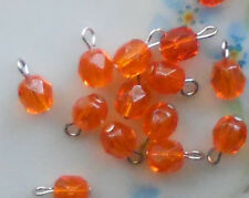 #521 Vintage Glass Beads Drops Dangles Doll buttons 8 Tiny Mini 6mm Charm Charms