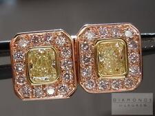 .87ctw Natural Light Yellow Diamond Halo Earrings R4415 Diamonds by Lauren