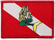 SCUBA DIVING EMBROIDERED FLAG PATCH iron-on MERMAID NEW DIVER DOWN EMBLEM