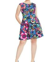 Gabby Skye Multicolored Scuba Knit Fit And Flare Dress Size 6