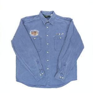 VTG Orvis Men Large 50 Seven Lakes Lodge Meeker Colorado Denim Long Sleeve Shirt