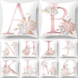 "18"" A-Z Letter Polyester Cushion Cover Waist Throw Pillow Case Home Sofa Decor"