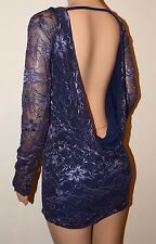 VICKY MARTIN purple BACKLESS lace fitted long sleeve mini dress BNWT 8 10 12
