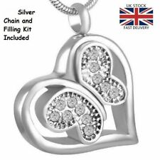 Butterfly Keepsake Cremation Urn Pendant Ashes Necklace Funeral Memorial - UK