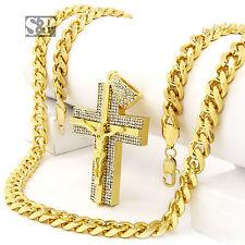 "Hip Hop Men Iced Out 14k Gold Plated Big Jesus Cross Cz Pendant, 30"" Cuban Chain"